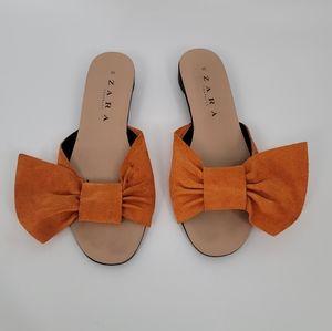 Zara Orange Suede Bow Slides 35